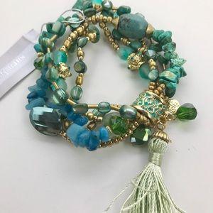 Sara Bella Turquoise/Blues stones Stretch Bracelet